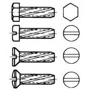 DIN 7513 Винтове резбонарязващи с шестостенни, цилиндрични, скрити и лещовидни глави и прав шлиц