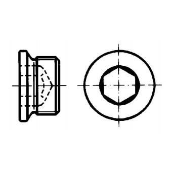 DIN 908 Винт-тапа с вътрешен шестостен, цилиндрична резба